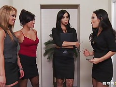 These four hot babes are going to make an offer to their boss her really can't refuse. See how the first one goes and and takes her clothes off and shows her big tits the same like the rest of them. They show him how hard they can work as group sucking his hard cock and making him cum.