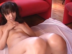 Breasty Oriental charms a palpitating pecker with soaked engulfing