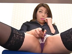 Asian sweetheart in nylons bows over for wicked fingering